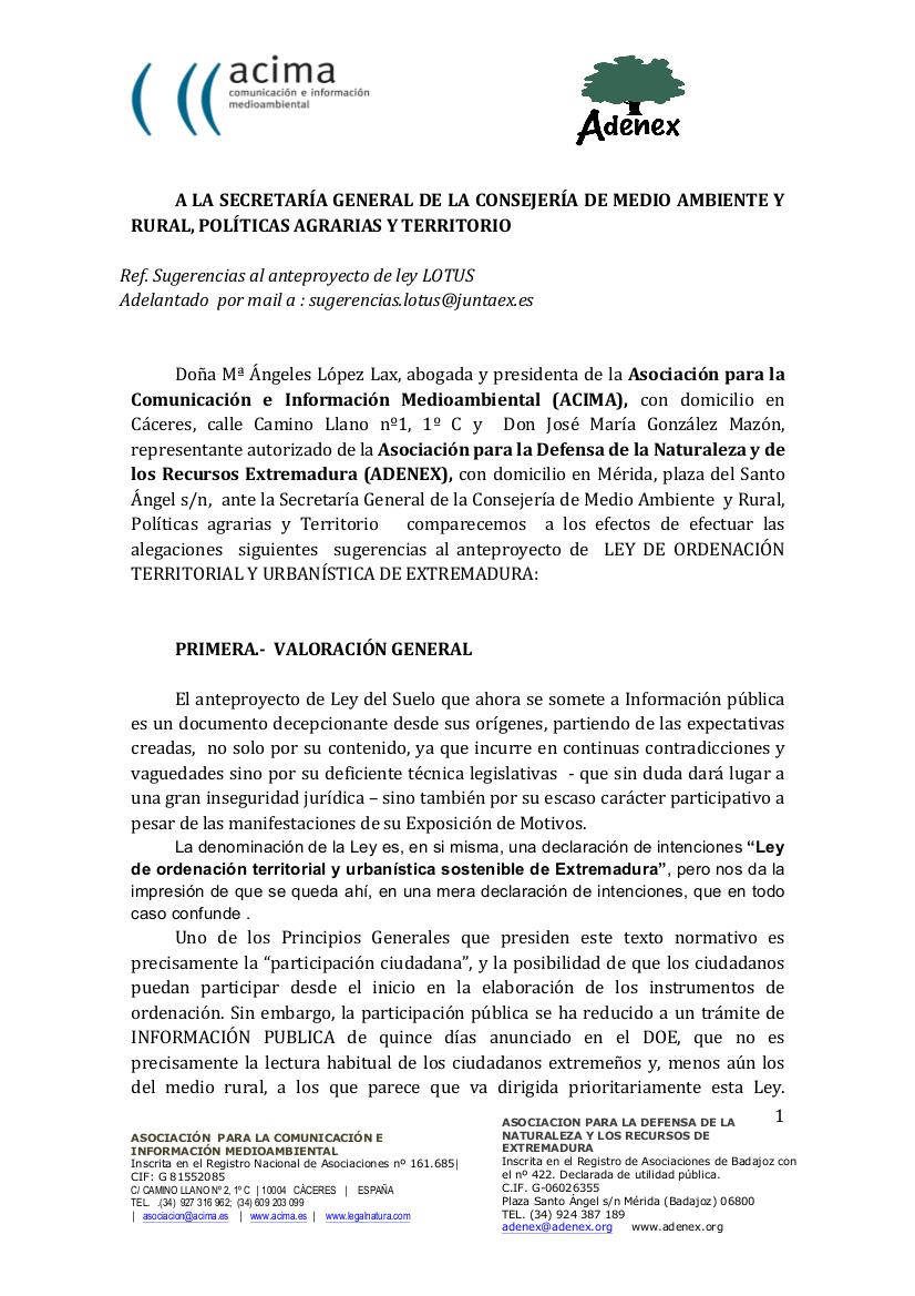 8789de42d243 ACIMA Y ADENEX han alegado el anteproyecto de Ley del Suelo y Ordenación  Territorial Sostenible de Extremadura.